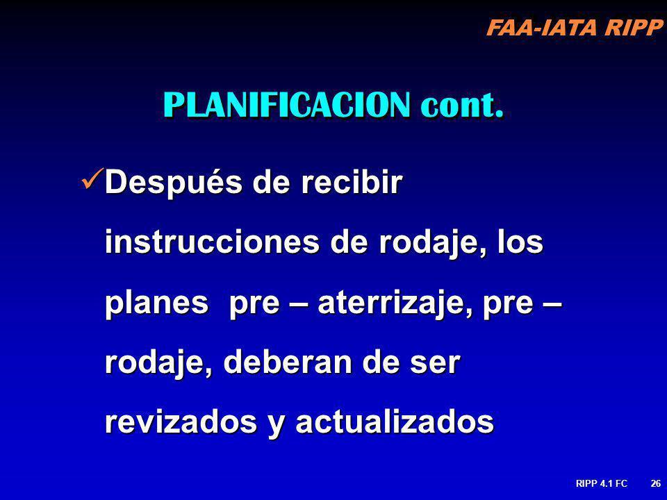 FAA-IATA RIPP RIPP 4.1 FC26 Después de recibir instrucciones de rodaje, los planes pre – aterrizaje, pre – rodaje, deberan de ser revizados y actualiz