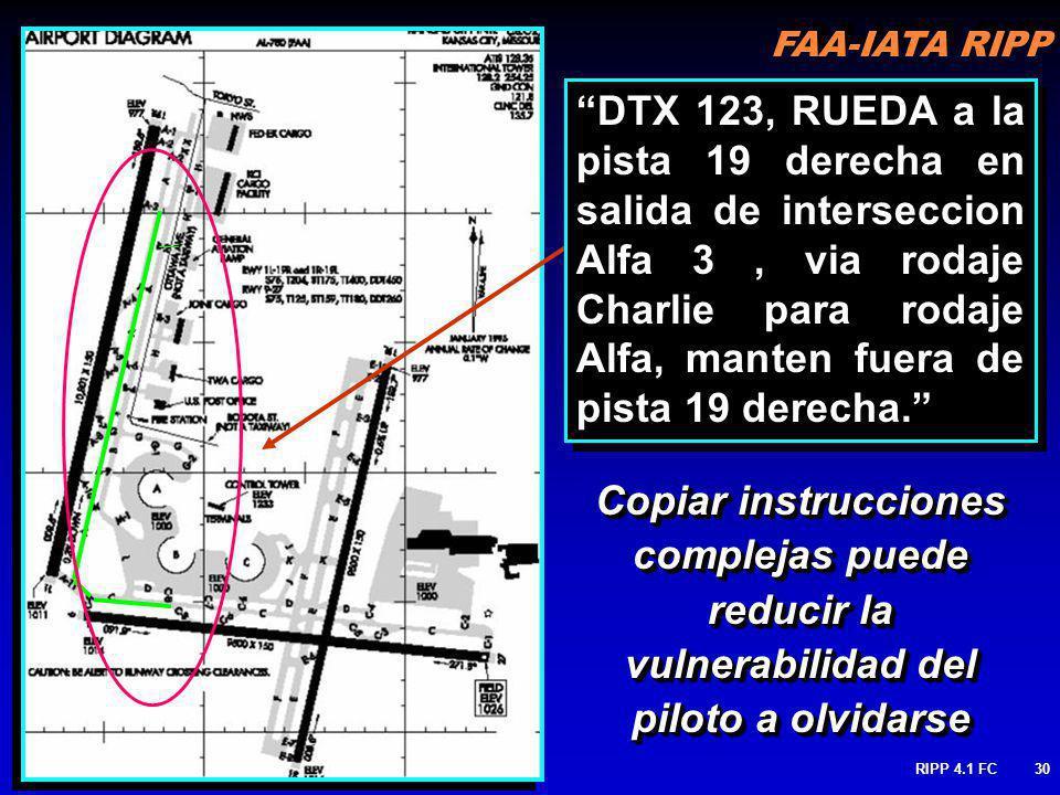 FAA-IATA RIPP RIPP 4.1 FC30 Copiar instrucciones complejas puede reducir la vulnerabilidad del piloto a olvidarse DTX 123, RUEDA a la pista 19 derecha