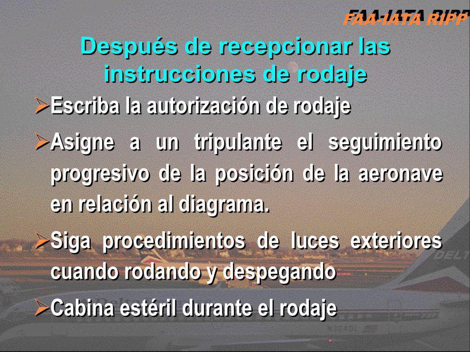 Después de recepcionar las instrucciones de rodaje Escriba la autorización de rodaje Asigne a un tripulante el seguimiento progresivo de la posición d