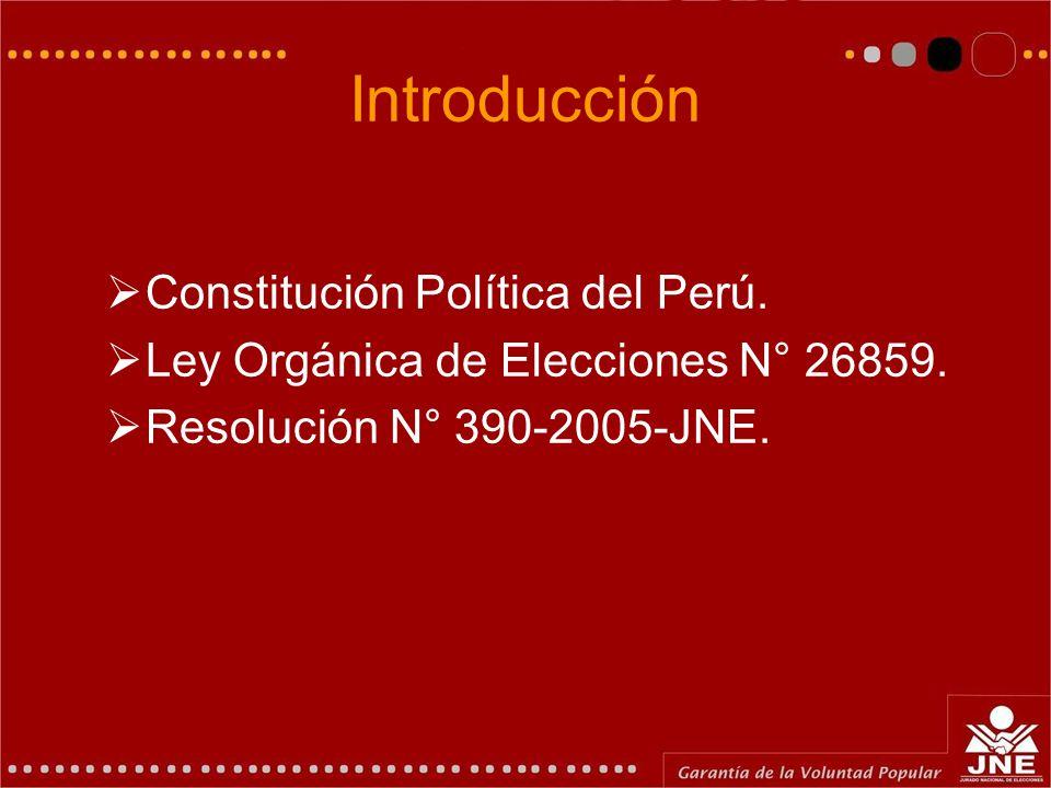 Introducción Constitución Política del Perú.Ley Orgánica de Elecciones N° 26859.