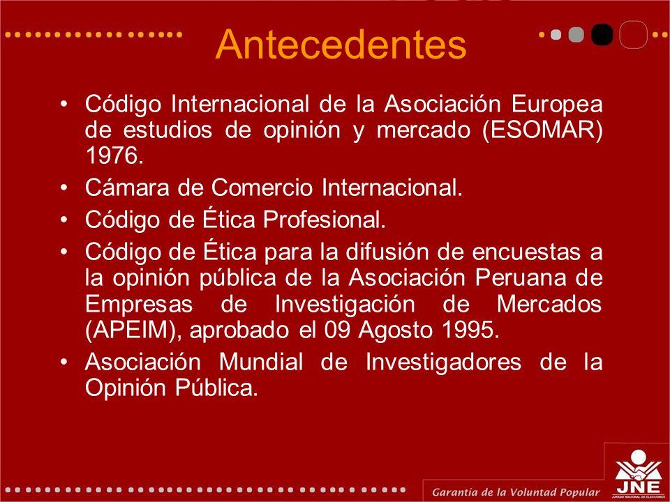 Antecedentes Código Internacional de la Asociación Europea de estudios de opinión y mercado (ESOMAR) 1976. Cámara de Comercio Internacional. Código de
