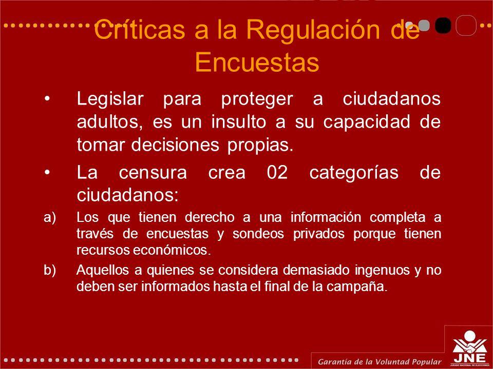 Críticas a la Regulación de Encuestas Legislar para proteger a ciudadanos adultos, es un insulto a su capacidad de tomar decisiones propias. La censur