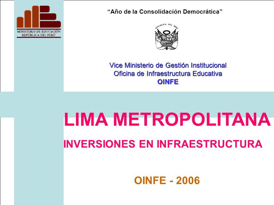 Año de la Consolidación Democrática LIMA METROPOLITANA INVERSIONES EN INFRAESTRUCTURA OINFE - 2006 Vice Ministerio de Gestión Institucional Oficina de Infraestructura Educativa OINFE