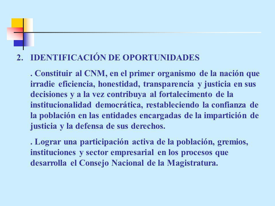2.IDENTIFICACIÓN DE OPORTUNIDADES. Constituir al CNM, en el primer organismo de la nación que irradie eficiencia, honestidad, transparencia y justicia