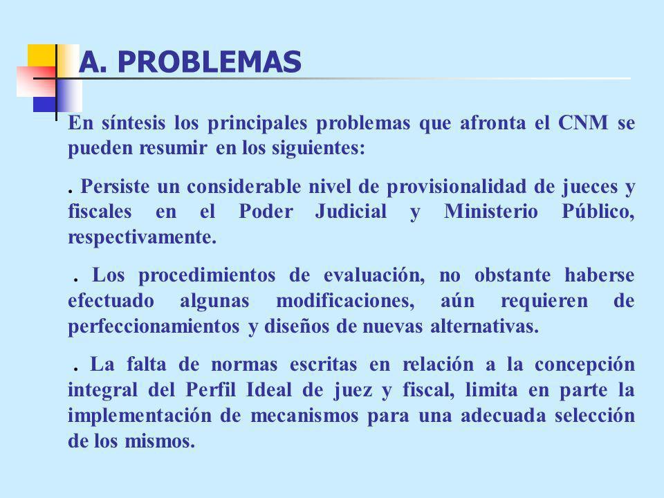 A. PROBLEMAS En síntesis los principales problemas que afronta el CNM se pueden resumir en los siguientes:. Persiste un considerable nivel de provisio