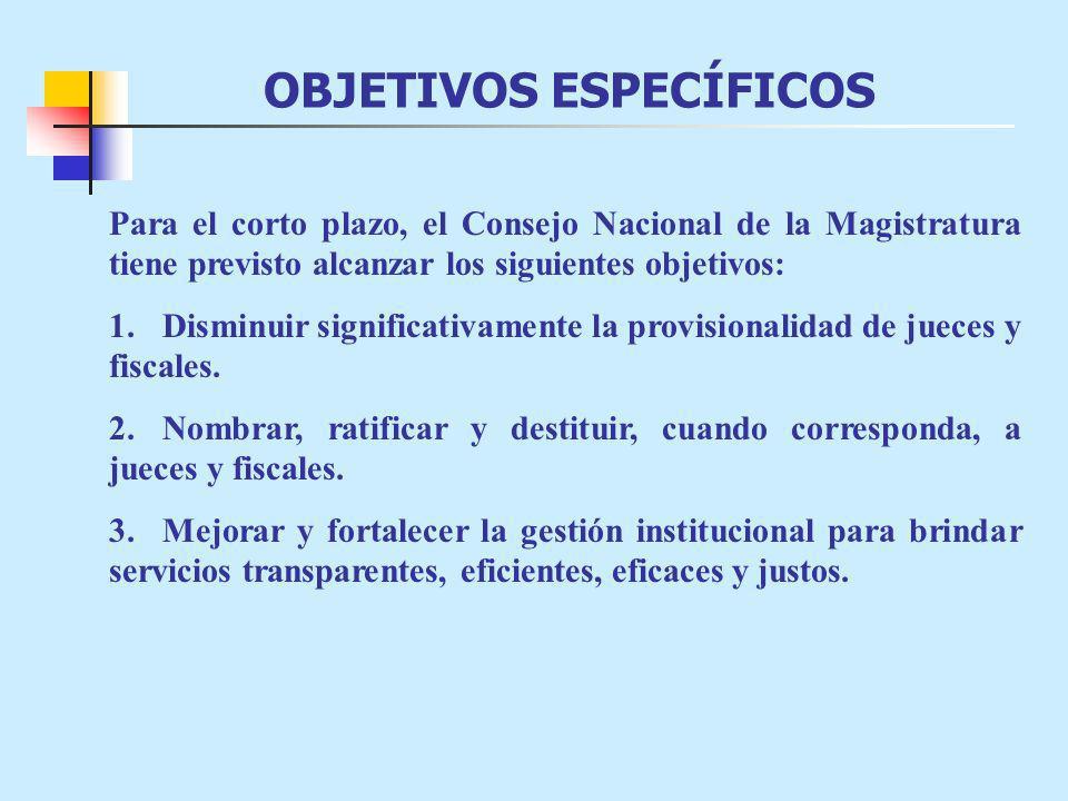 OBJETIVOS ESPECÍFICOS Para el corto plazo, el Consejo Nacional de la Magistratura tiene previsto alcanzar los siguientes objetivos: 1.Disminuir signif
