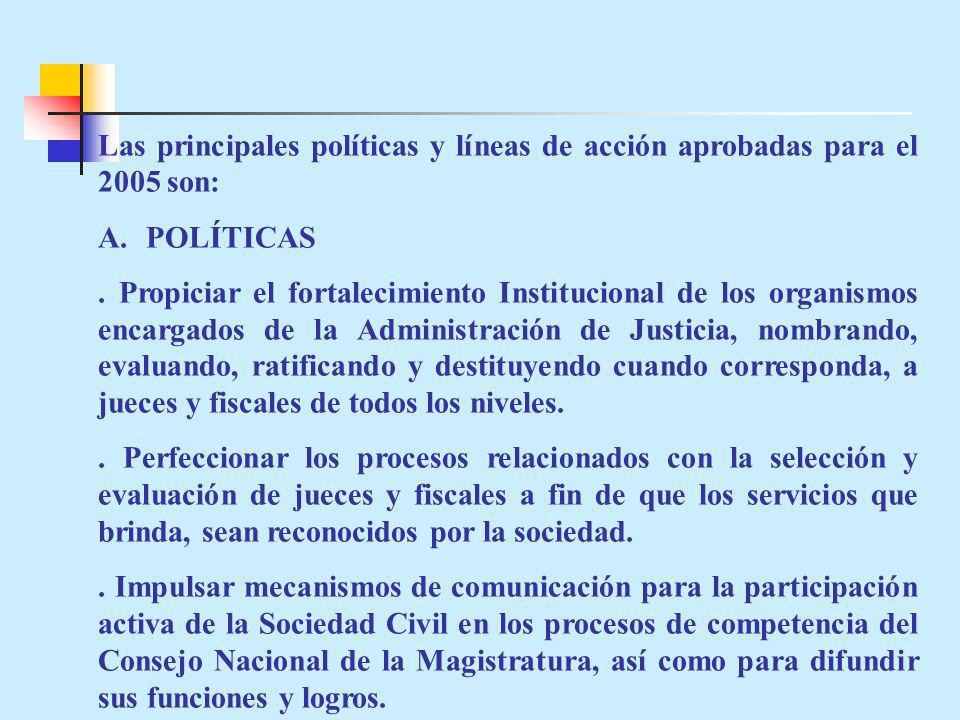 Las principales políticas y líneas de acción aprobadas para el 2005 son: A.POLÍTICAS. Propiciar el fortalecimiento Institucional de los organismos enc