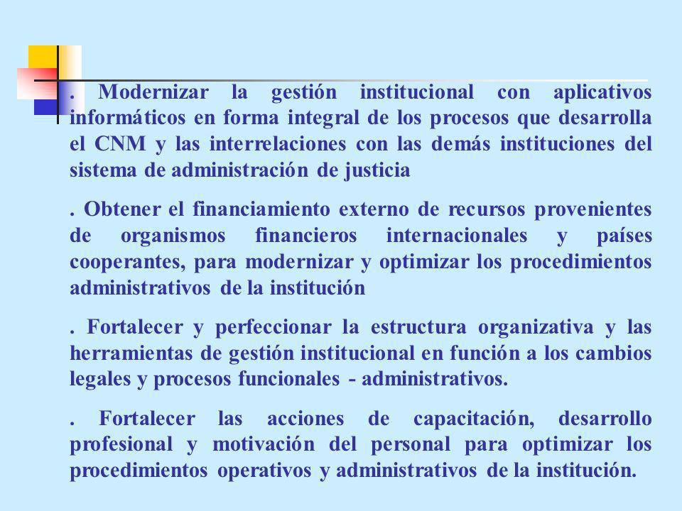 . Modernizar la gestión institucional con aplicativos informáticos en forma integral de los procesos que desarrolla el CNM y las interrelaciones con l