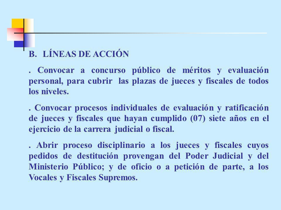 B.LÍNEAS DE ACCIÓN. Convocar a concurso público de méritos y evaluación personal, para cubrir las plazas de jueces y fiscales de todos los niveles.. C