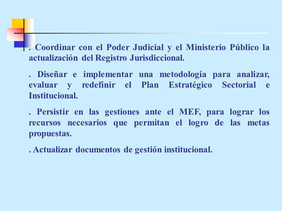 . Coordinar con el Poder Judicial y el Ministerio Público la actualización del Registro Jurisdiccional.. Diseñar e implementar una metodología para an