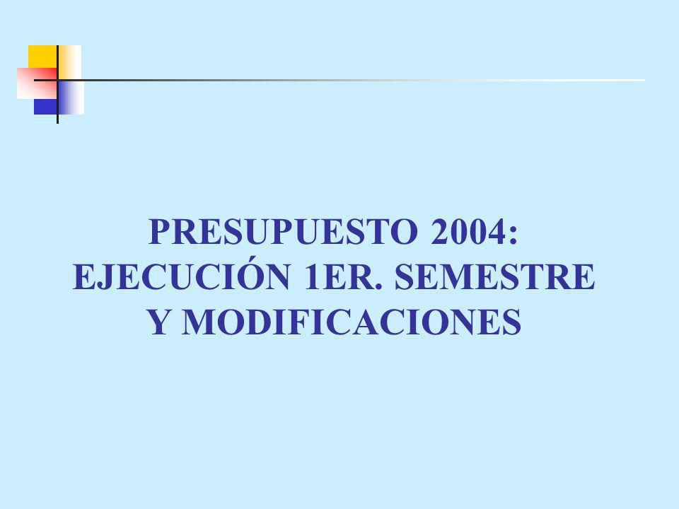 PRESUPUESTO 2004: EJECUCIÓN 1ER. SEMESTRE Y MODIFICACIONES