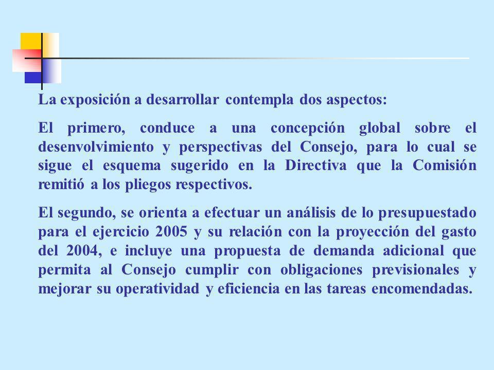 PRESUPUESTO 2005 SEGÚN FUENTE DE FINANCIAMIENTO Y CATEGORIA DEL GASTO El presupuesto asignado al Consejo Nacional de la Magistratura para el 2005 por toda fuente de financiamiento asciende a S/ 10018,736; de los cuales: S/.