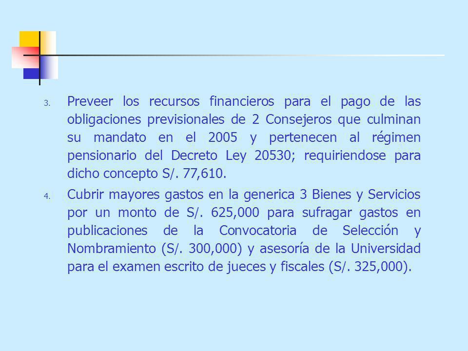3. Preveer los recursos financieros para el pago de las obligaciones previsionales de 2 Consejeros que culminan su mandato en el 2005 y pertenecen al