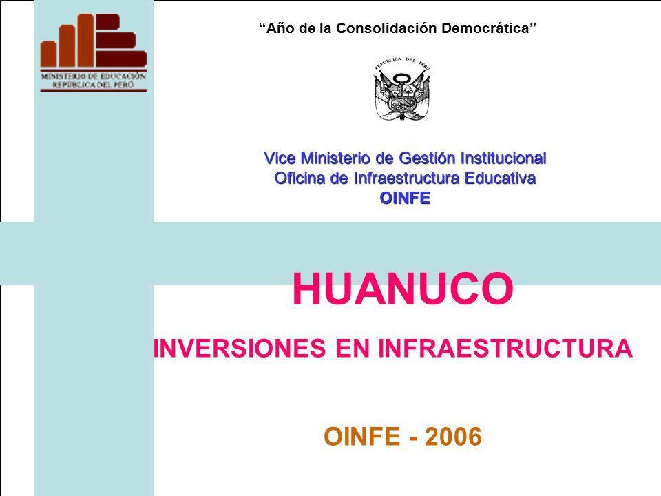 Año de la Consolidación Democrática HUANUCO INVERSIONES EN INFRAESTRUCTURA OINFE - 2006 Vice Ministerio de Gestión Institucional Oficina de Infraestructura Educativa OINFE