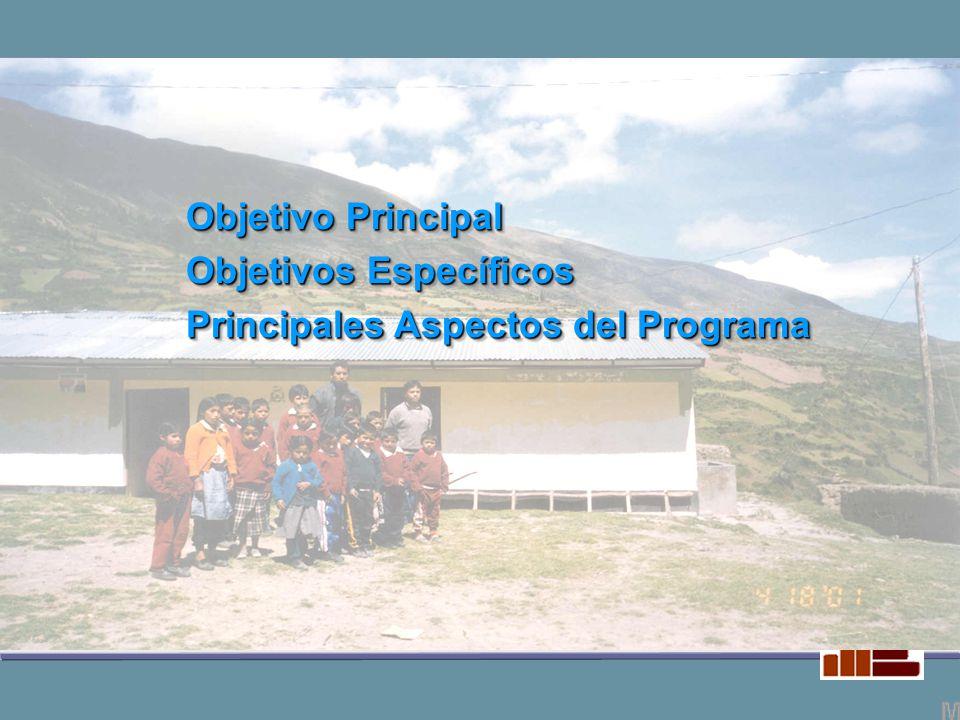 Objetivo Principal Objetivos Específicos Principales Aspectos del Programa Objetivo Principal Objetivos Específicos Principales Aspectos del Programa