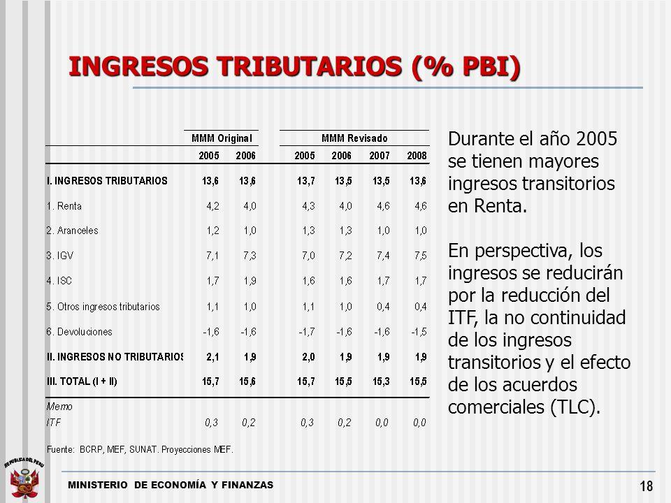 MINISTERIO DE ECONOMÍA Y FINANZAS 18 INGRESOS TRIBUTARIOS (% PBI) Durante el año 2005 se tienen mayores ingresos transitorios en Renta. En perspectiva