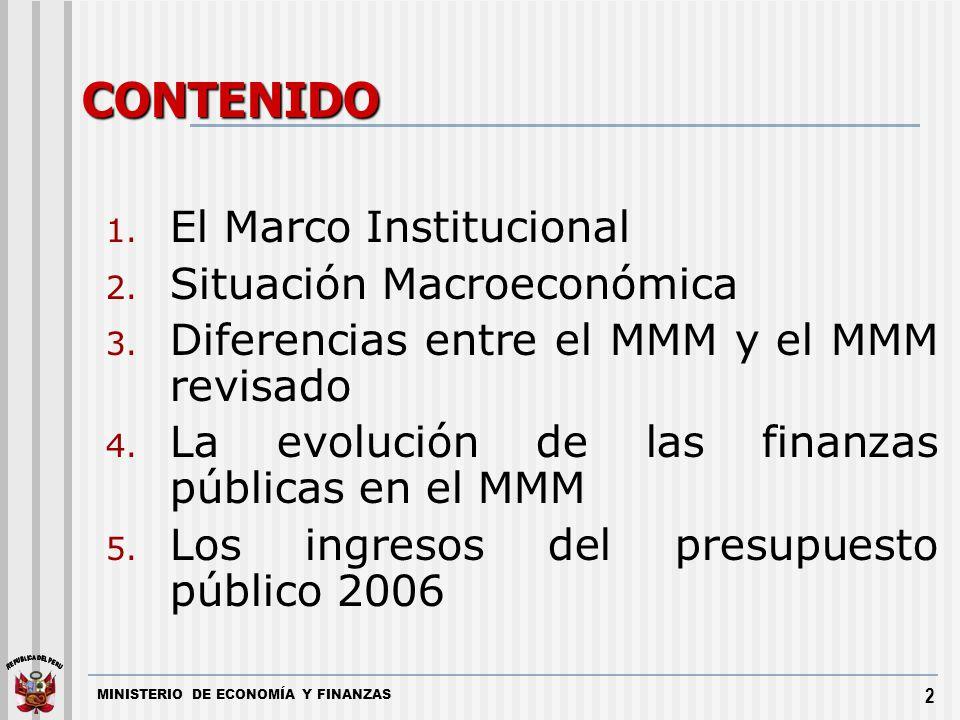 2 CONTENIDO 1. El Marco Institucional 2. Situación Macroeconómica 3. Diferencias entre el MMM y el MMM revisado 4. La evolución de las finanzas públic