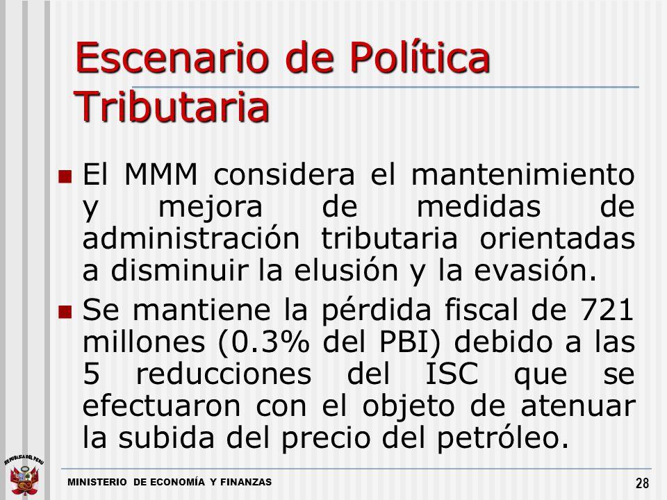 MINISTERIO DE ECONOMÍA Y FINANZAS 28 Escenario de Política Tributaria El MMM considera el mantenimiento y mejora de medidas de administración tributar