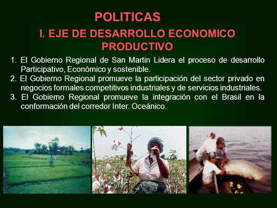 I. EJE DE DESARROLLO ECONOMICO PRODUCTIVO 1.