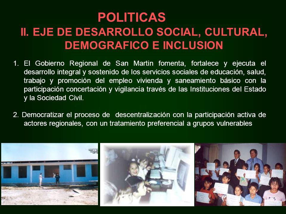 II. EJE DE DESARROLLO SOCIAL, CULTURAL, DEMOGRAFICO E INCLUSION 1.El Gobierno Regional de San Martin fomenta, fortalece y ejecuta el desarrollo integr