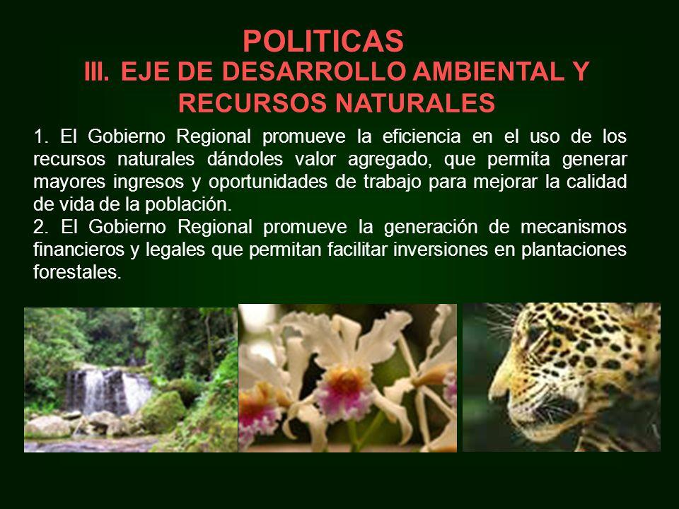 III. EJE DE DESARROLLO AMBIENTAL Y RECURSOS NATURALES 1.