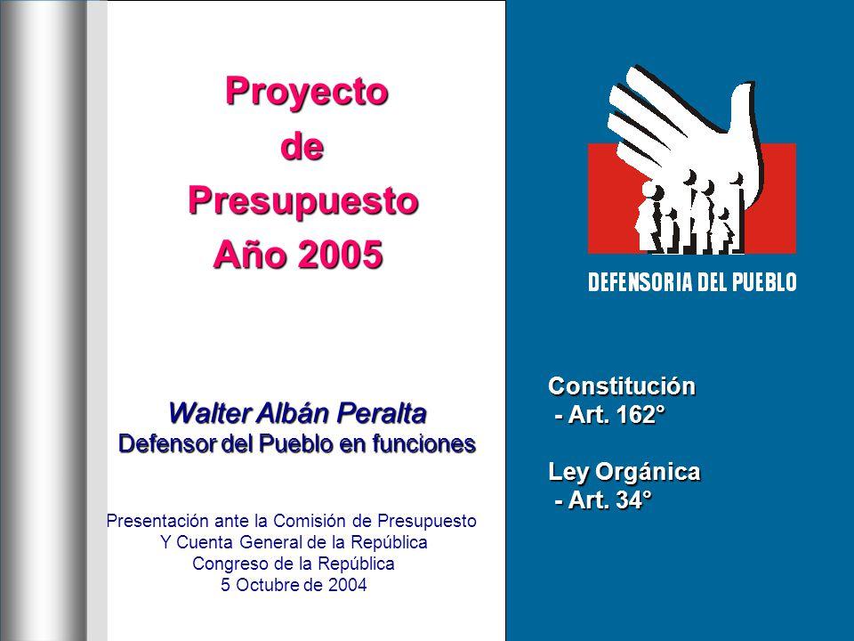 Proyecto ProyectodePresupuesto Año 2005 Walter Albán Peralta Defensor del Pueblo en funciones Presentación ante la Comisión de Presupuesto Congreso de la República 5 Octubre de 2004 Constitución - Art.