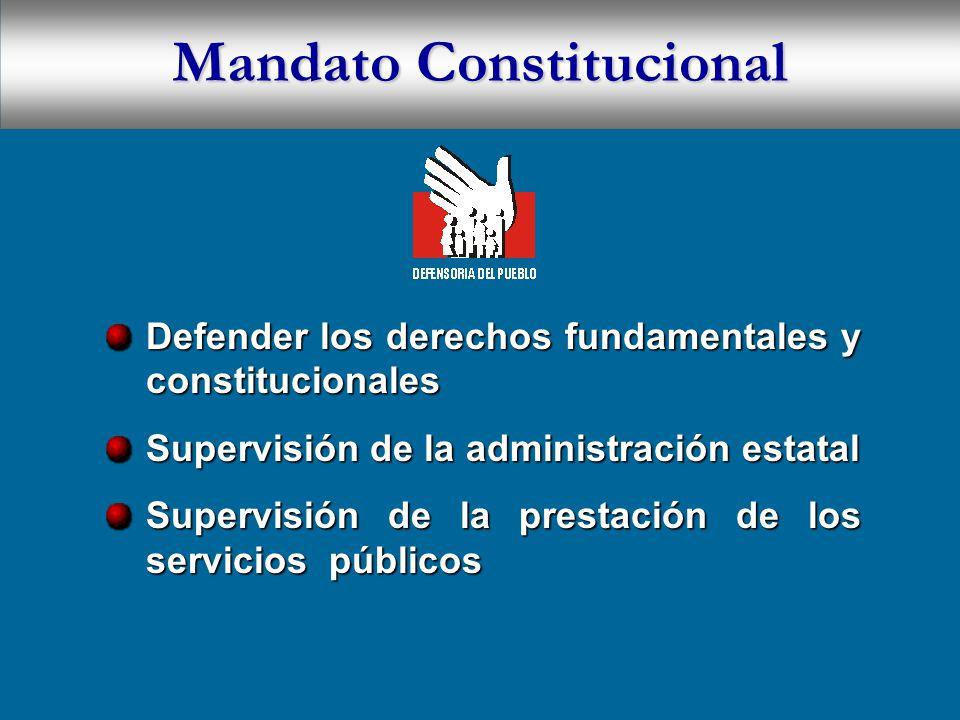 Mandato Constitucional Defender los derechos fundamentales y constitucionales Supervisión de la administración estatal Supervisión de la prestación de los servicios públicos