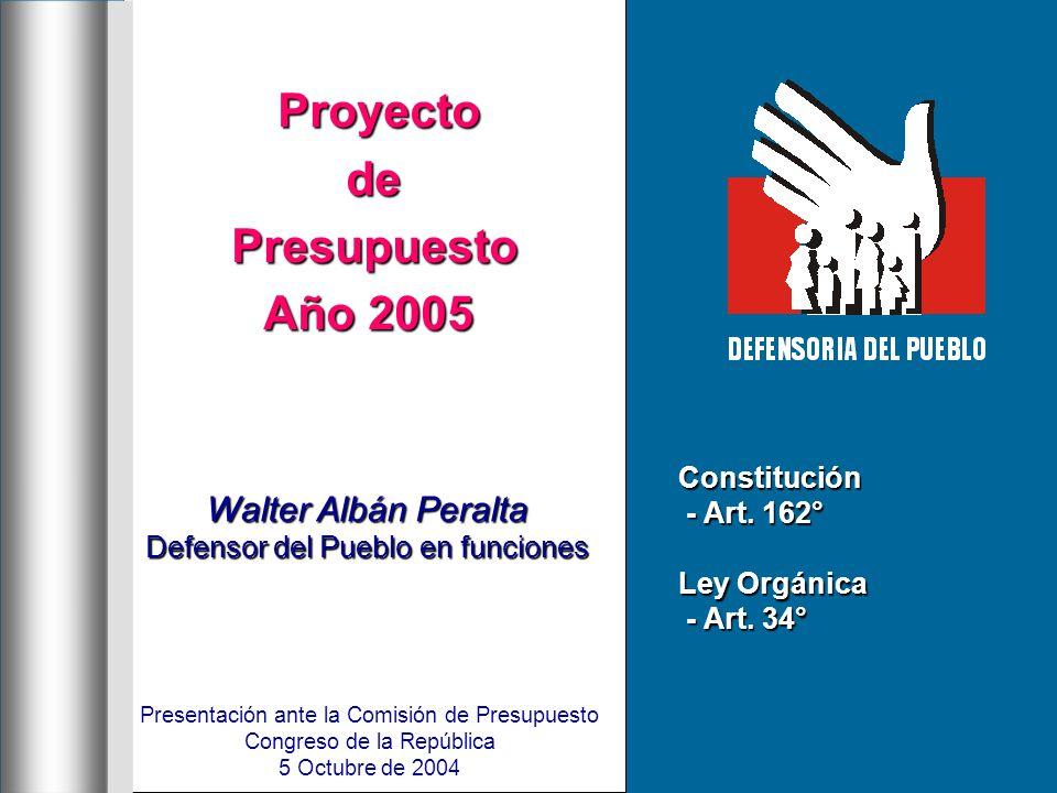 Proyecto ProyectodePresupuesto Año 2005 Walter Albán Peralta Defensor del Pueblo en funciones Presentación ante la Comisión de Presupuesto Congreso de