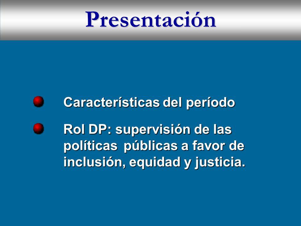 Presentación Características del período Características del período Rol DP: supervisión de las políticas públicas a favor de inclusión, equidad y justicia.