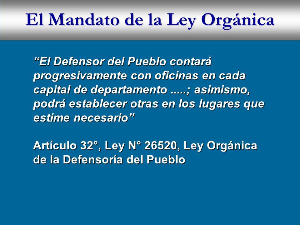 El Mandato de la Ley Orgánica El Defensor del Pueblo contará progresivamente con oficinas en cada capital de departamento.....; asimismo, podrá establ