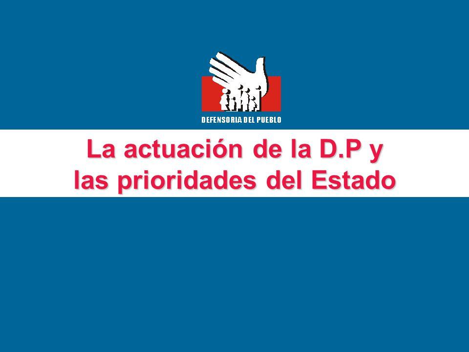 La actuación de la D.P y las prioridades del Estado