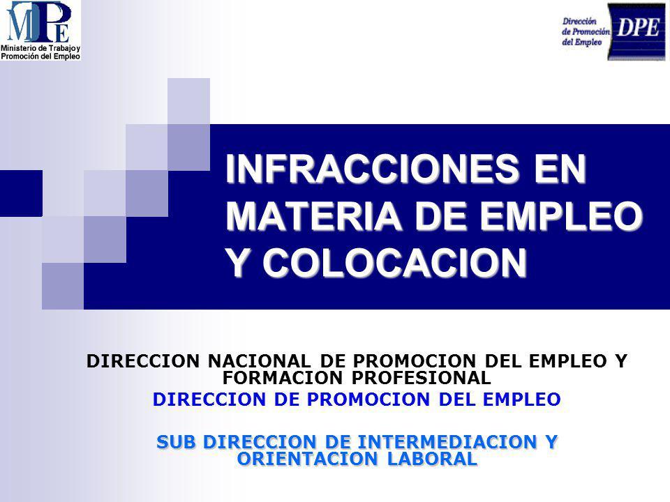 INFRACCIONES EN MATERIA DE EMPLEO Y COLOCACION DIRECCION NACIONAL DE PROMOCION DEL EMPLEO Y FORMACION PROFESIONAL DIRECCION DE PROMOCION DEL EMPLEO SU