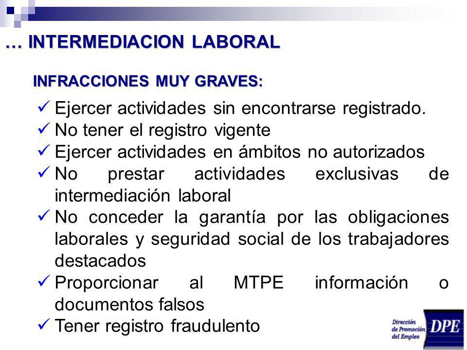 INFRACCIONES MUY GRAVES: Ejercer actividades sin encontrarse registrado. No tener el registro vigente Ejercer actividades en ámbitos no autorizados No