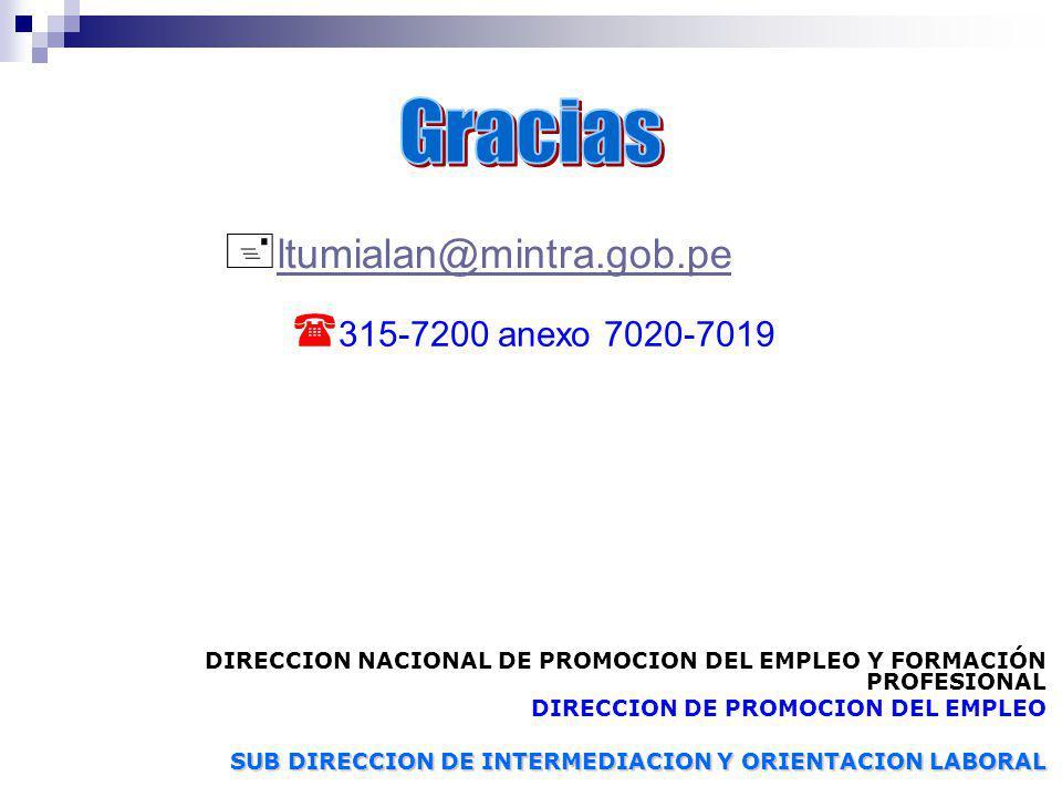 l tumialan@mintra.gob.pe 3 15-7200 anexo 7020-7019 DIRECCION NACIONAL DE PROMOCION DEL EMPLEO Y FORMACIÓN PROFESIONAL DIRECCION DE PROMOCION DEL EMPLE