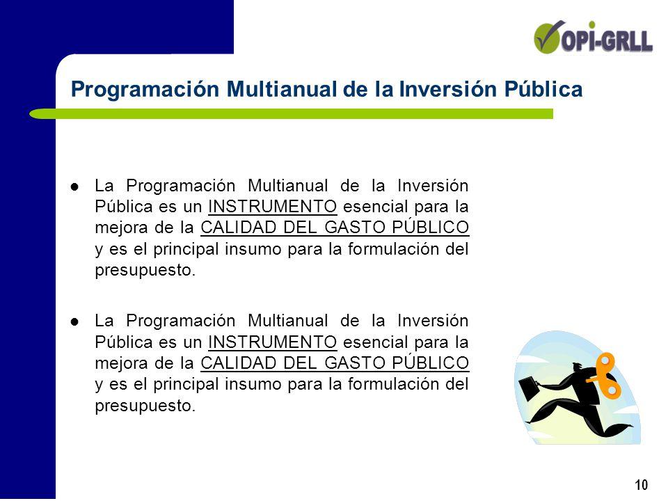 10 La Programación Multianual de la Inversión Pública es un INSTRUMENTO esencial para la mejora de la CALIDAD DEL GASTO PÚBLICO y es el principal insu