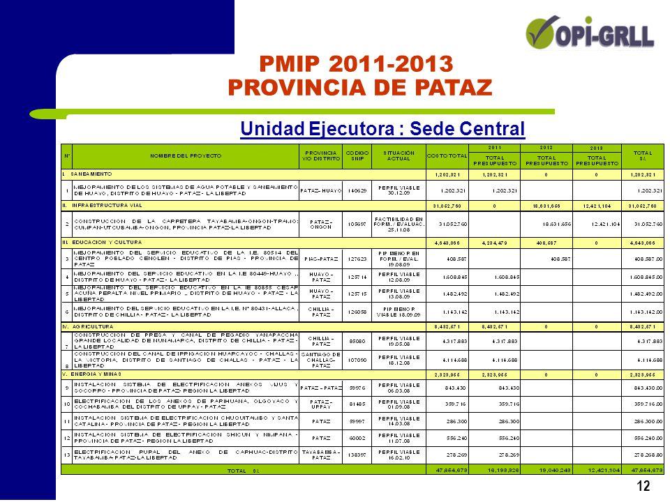12 PMIP 2011-2013 PROVINCIA DE PATAZ Unidad Ejecutora : Sede Central