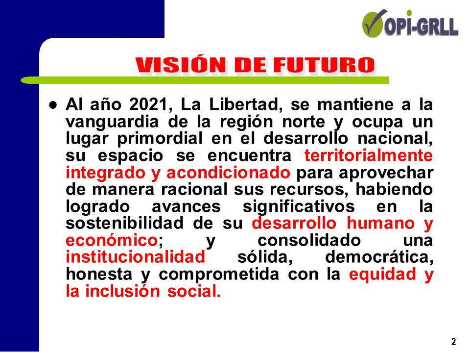 2 Al año 2021, La Libertad, se mantiene a la vanguardia de la región norte y ocupa un lugar primordial en el desarrollo nacional, su espacio se encuen