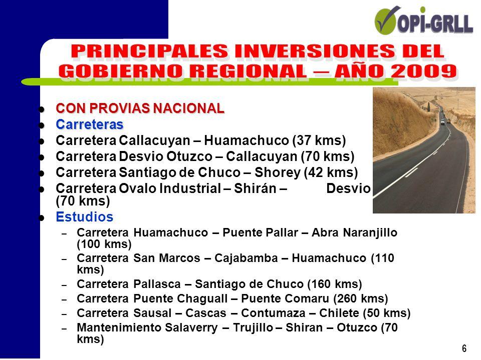 7 CON PROVIAS DESCENTRALIZADO Carretera Puente Pallar – El Molino (55 kms) Carretera El Molino – Chaguall (45 kms) Carretera Sausal – Desvio Cascas (40 kms) Carretera Desvio Cascas – Cascas (36 kms) Mantenimiento Periódico de Carreteras Caminos Rurales Construcción Puente Santo Cristo