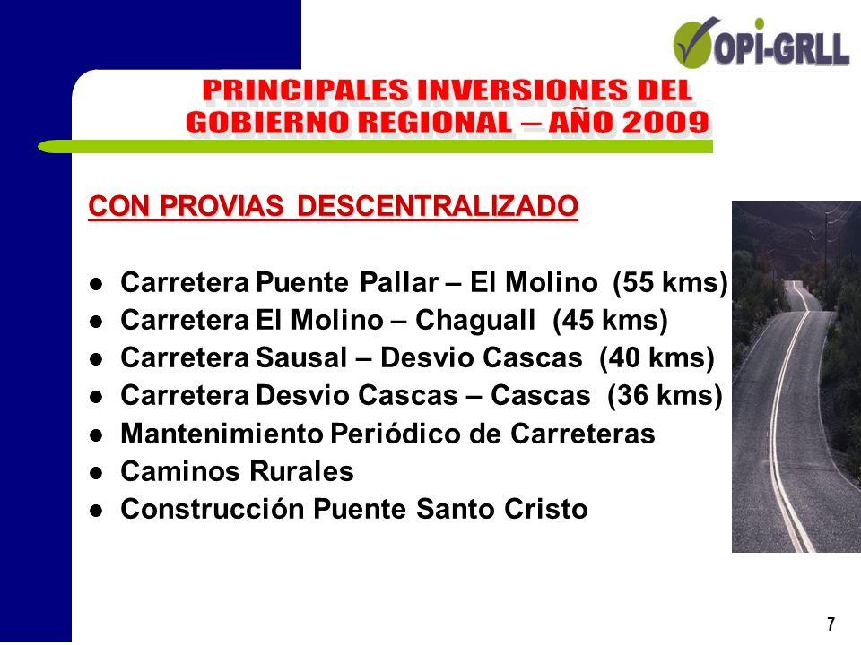 7 CON PROVIAS DESCENTRALIZADO Carretera Puente Pallar – El Molino (55 kms) Carretera El Molino – Chaguall (45 kms) Carretera Sausal – Desvio Cascas (4