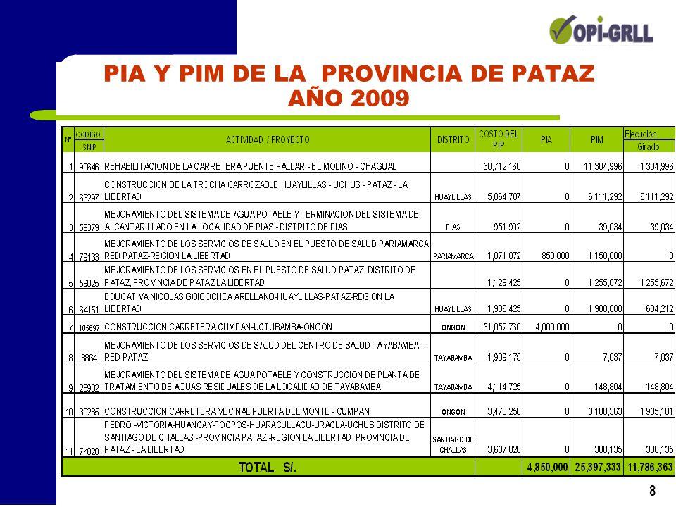 8 PIA Y PIM DE LA PROVINCIA DE PATAZ AÑO 2009