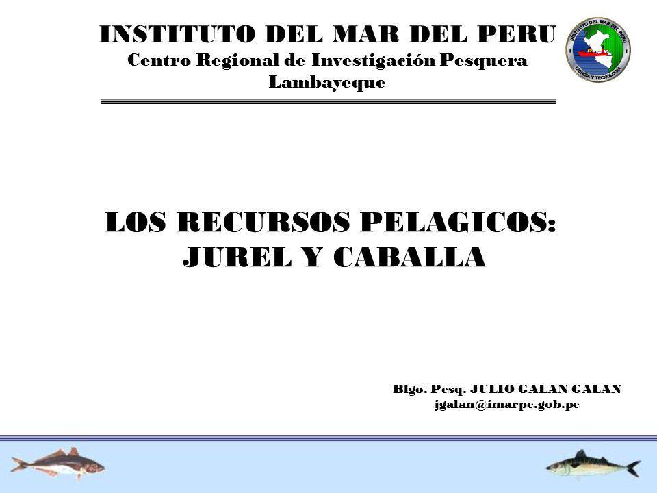 INSTITUTO DEL MAR DEL PERU Centro Regional de Investigación Pesquera Lambayeque LOS RECURSOS PELAGICOS: JUREL Y CABALLA Blgo. Pesq. JULIO GALAN GALAN
