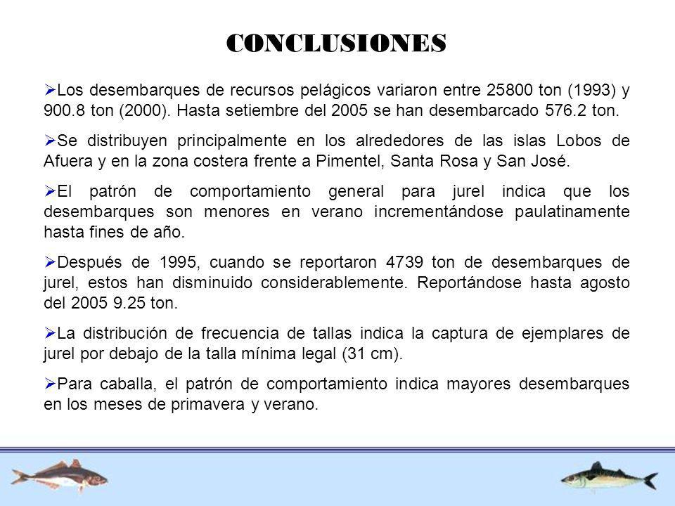 CONCLUSIONES Los desembarques de recursos pelágicos variaron entre 25800 ton (1993) y 900.8 ton (2000). Hasta setiembre del 2005 se han desembarcado 5