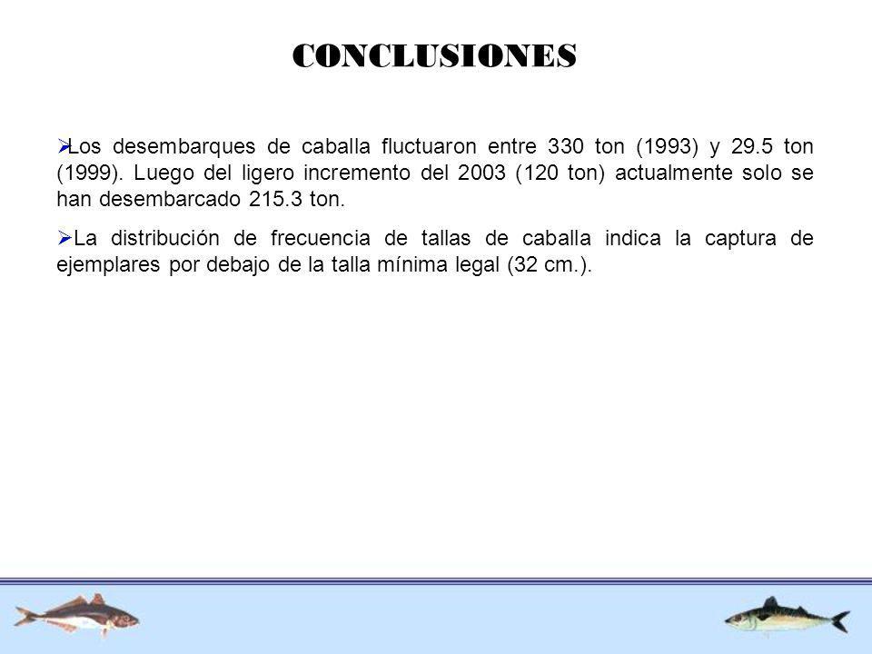 CONCLUSIONES Los desembarques de caballa fluctuaron entre 330 ton (1993) y 29.5 ton (1999). Luego del ligero incremento del 2003 (120 ton) actualmente