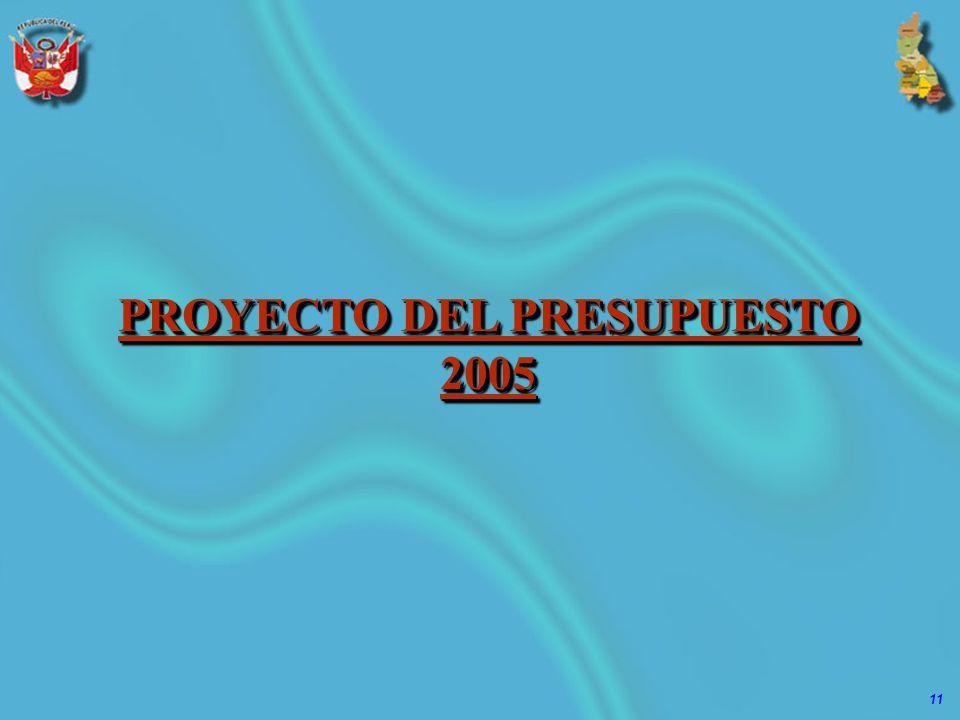 11 PROYECTO DEL PRESUPUESTO 2005
