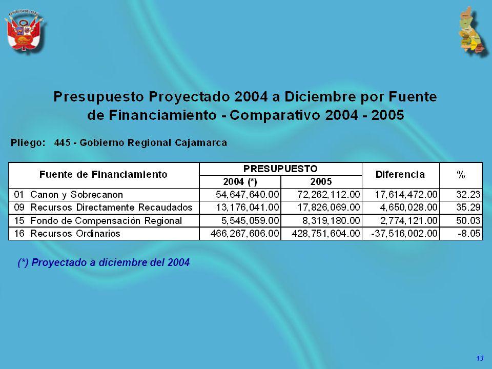 13 (*) Proyectado a diciembre del 2004