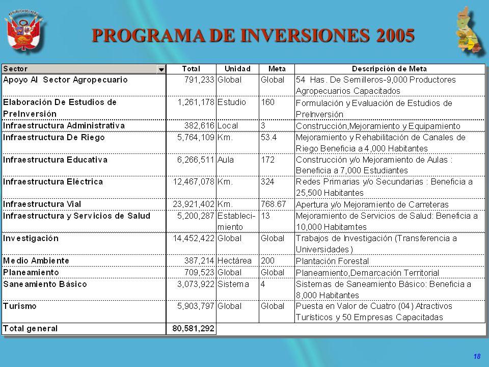 18 PROGRAMA DE INVERSIONES 2005