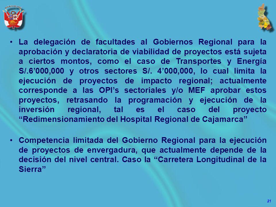 21 La delegación de facultades al Gobiernos Regional para la aprobación y declaratoria de viabilidad de proyectos está sujeta a ciertos montos, como el caso de Transportes y Energía S/.6000,000 y otros sectores S/.