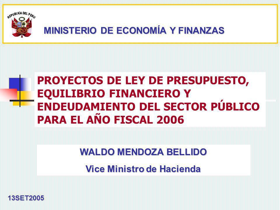 PROYECTOS DE LEY DE PRESUPUESTO, EQUILIBRIO FINANCIERO Y ENDEUDAMIENTO DEL SECTOR PÚBLICO PARA EL AÑO FISCAL 2006 13SET2005 WALDO MENDOZA BELLIDO Vice