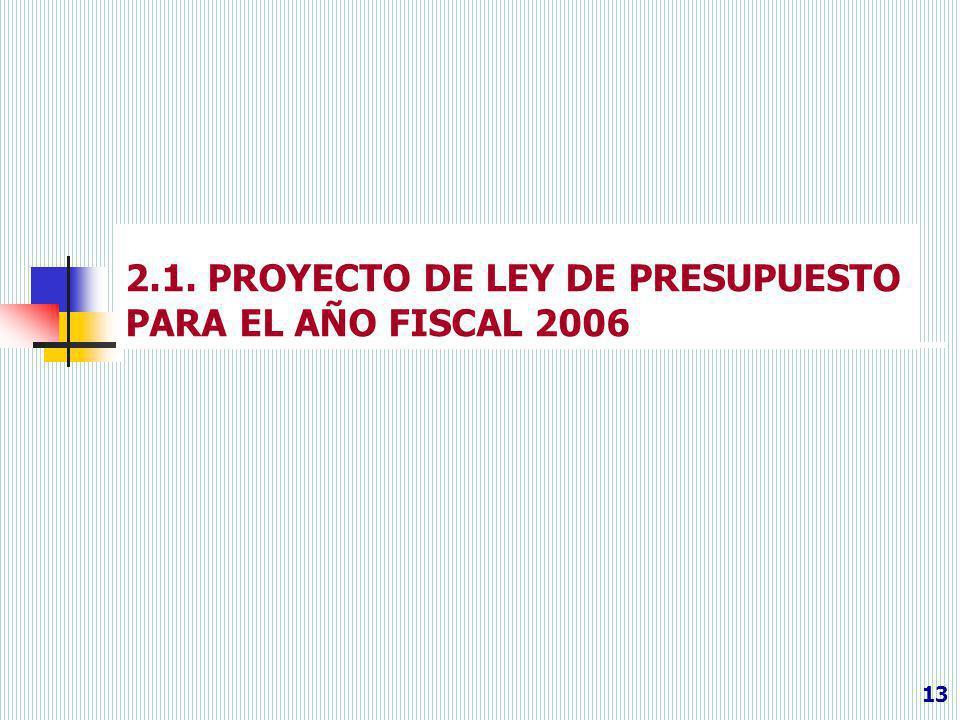2.1. PROYECTO DE LEY DE PRESUPUESTO PARA EL AÑO FISCAL 2006 13