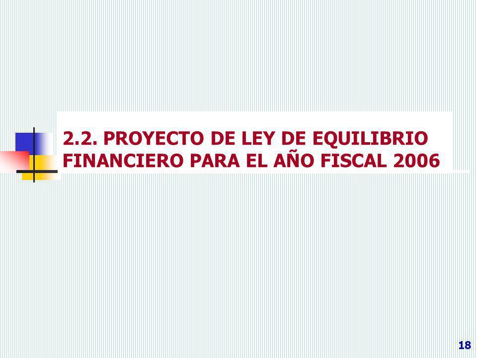 2.2. PROYECTO DE LEY DE EQUILIBRIO FINANCIERO PARA EL AÑO FISCAL 2006 18